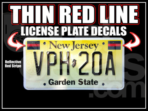 2 PACK THIN RED LINE LICENSE PLATE DECALS Decals Stickers Fire FD Fireman