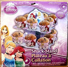 DISNEY PRINCESS,CINDERELLA,ARIEL,BELLE SNACK TWO TIER STAND PARTY FAVORS-NEW!