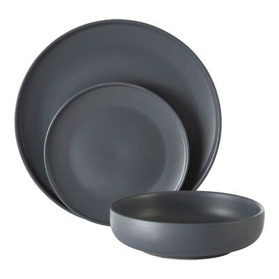 ce75b95ecbbf Details about Malmo Slate Grey Dinner Set Stoneware Mugs Plates Bowls  Dining Tableware New