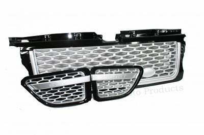 Konnekt Gloss Black Grille and Side Vents with Silver Trim Compatible RR Sport 10-13