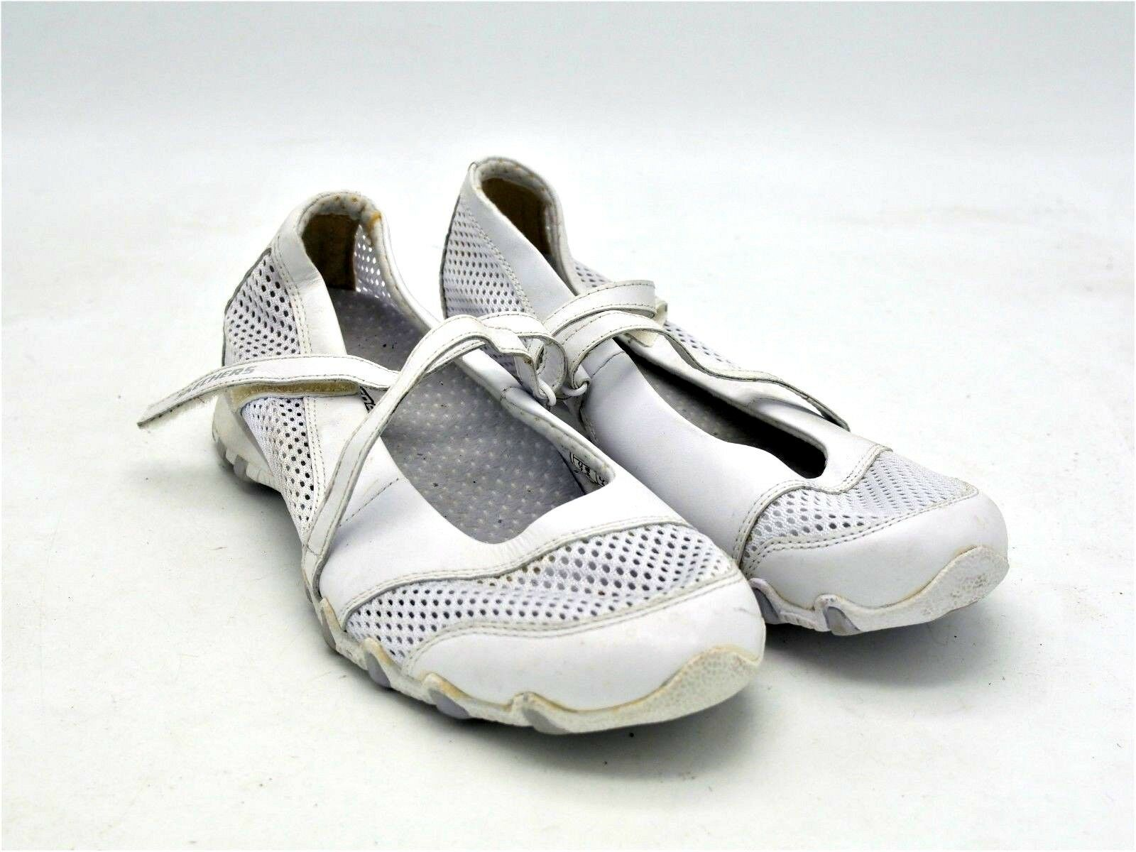 D1905 New Women's Skechers 21548 White Leather Fabric Flat 7.5 M