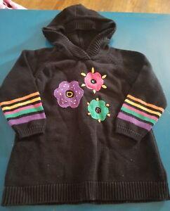 Hanna-Andersson-Girls-Black-Hoodie-Hooded-Sweater-Top-Flowers-Sz-110-5