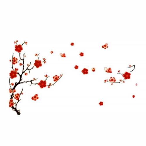 Plum Blossom Fleurs Papillons Autocollant Mural Adhésif Autocollant Accueil Décoration