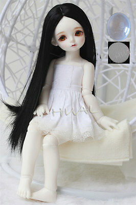 "6-7/"" 1//6 BJD Jet Black Long Straight Mini Wig LUTS Doll SD DOD MSD Dollfie Hair"