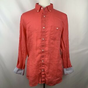 Hickey-Freeman-Mens-Coral-Pink-100-Linen-Flip-Cuff-Casual-Dress-Shirt-Sz-Large