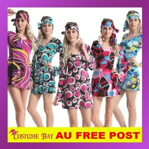 1960s 1970s 60s Retro Hippie Girl Disco Dancing Costume Groovy Hens Fancy Dress