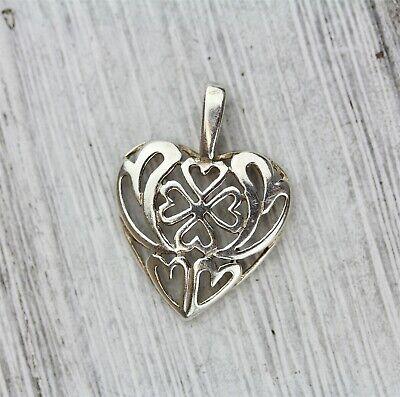 Vintage Sterling Silver Filigree Heart Pendant