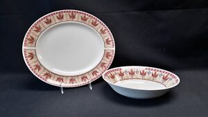 Johnson-Brothers-England-Papyrus-Oval-Serving-Platter-amp-Oval-Vegetable-Bowl