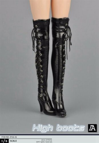 "1//6 Scale Woman/'s Black//White High Boots Shoes For 12/"" Action Figure Female Body"