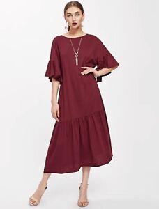 nice shoes c2f4d f88c7 Dettagli su abito vestito lungo donna ragazza estivo Bordeaux