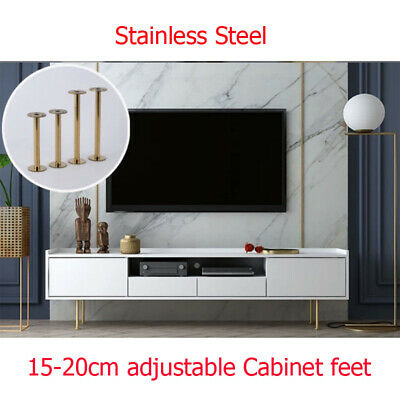 2x Adjustable Furniture Legs Stainless Steel 15-200mm Kitchen Cabinet Couch  Sofa | eBay