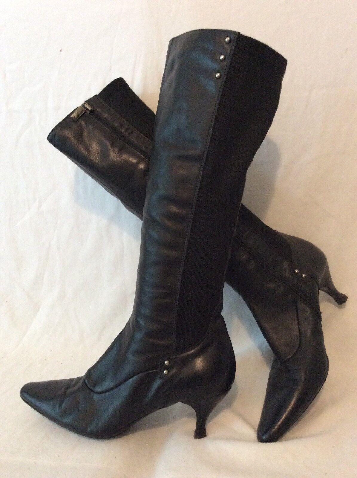 Aquatalia Noir Hautes Bottes en cuir taille 38