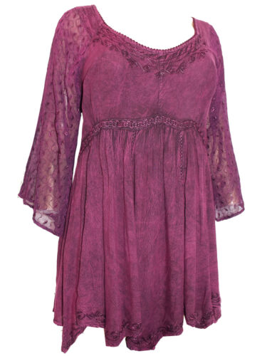 Romantic Plus Burgundy 30 Embroidered Tunic Womens Size 26 Lace 28 Plum Top Zxw861