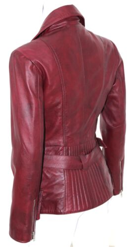 Cara Ladies women/'s Plum Designer Model Party Clubbing Real Leather Jacket