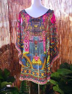 Loose-Sheer-Embellished-Kaftan-Round-Hem-Print-Size-14-16-18-20-one-size