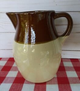 Vintage-Stoneware-6-034-Pitcher-Brown-and-Tan-Farmhouse-Primitive-Rustic-Decor