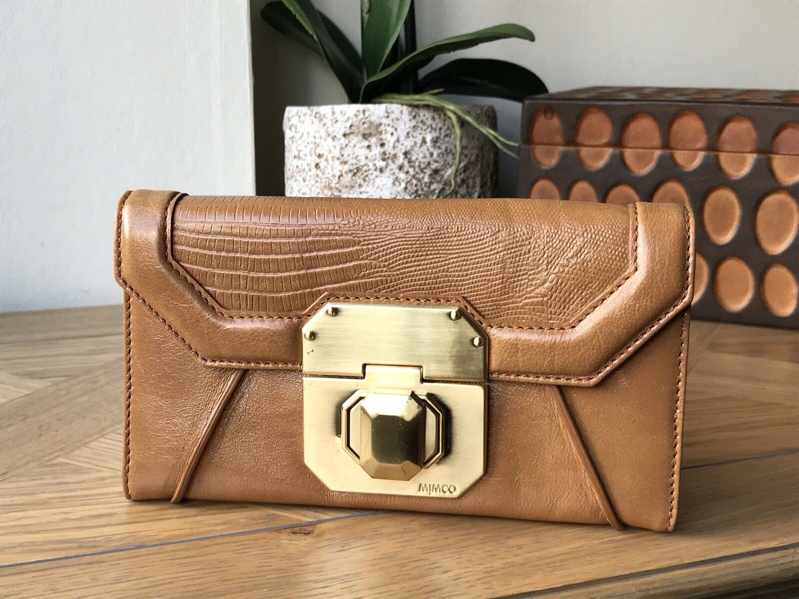 Mimco tan genuine leather wallet purse