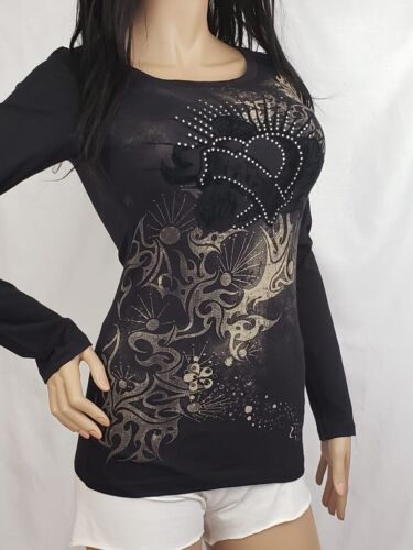 VOCAL Long Sleeve Graphic Tee Black Casual Top New S M L
