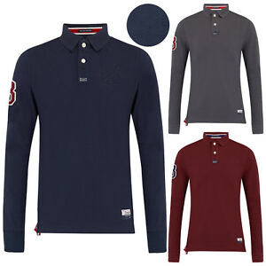 Mens-Polo-Shirts-Stallion-estampe-en-coton-a-manches-longues-en-maille-Haut