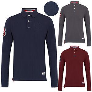 Mens-Polo-Shirts-Stallion-estampe-en-coton-a-manches-longues-en-maille-Haut