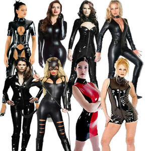 Sexy-PVC-Catsuit-Womens-Black-Faux-Leather-Latex-Bodysuit-Fetish-UK-Sizes-8-20