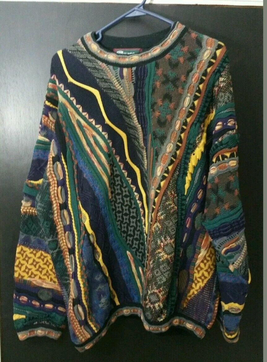 Amazing TUNDRA Highly TextuROT COLORFUL Cotton Sweater L