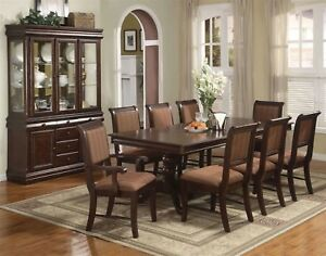 Merlot-9-Piece-Formal-Dining-Room-Furniture-Set-Pedestal-Table-amp-8-Chairs