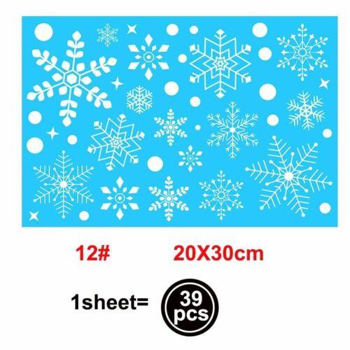 Santa Elk Christmas Pvc Static Sticker Beauti Snow Flake Wall Sticker New Year