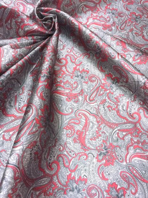 """RED & GRAY PAISLEY VISCOSE RAYON 60""""W FABRIC SHIRT SKIRT SARI TABLECLOTH SHEET"""
