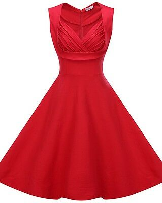 Women's V-Neck Vintage Style 1950's Retro Rockabilly Evening Party Swing Dress