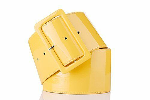 Ladies Girls Retro PVC Wide Cinch Waist Belt Shiny Stylish Big Buckle 70/'s Style