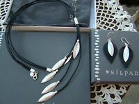 Silpada Set Silver Leather layered Leaf Necklace N3224 Earrings W3274