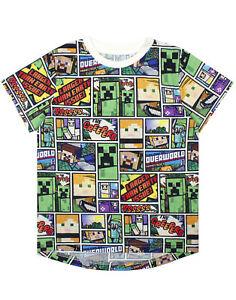 Minecraft-T-Shirt-Overworld-Steve-Creeper-Boy-039-s-Kids-Short-Sleeve-Shirt-Top