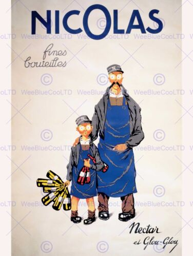 ADVERT NICOLAS WINE MERCHANT VINTNER NECTAR BOTTLE PARIS PRINT ABB6159B