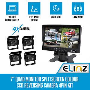 "7"" LCD Splitscreen Monitor CCD Reverse Reversing 4 Camera Package 4PIN Kit Truck"