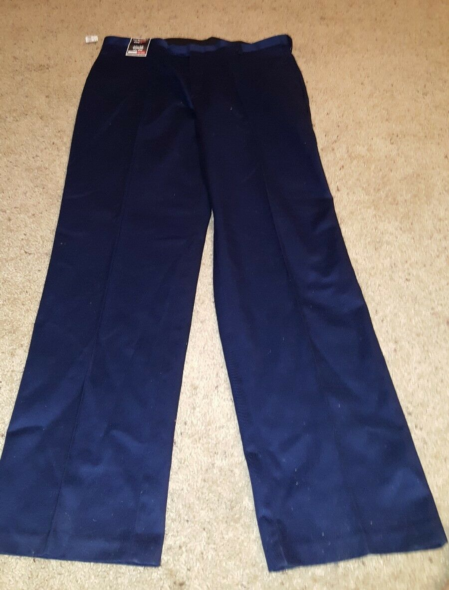 Roundtree & Yorke Travel Smart Flat Expander Dress Pants bluee Navy NWT