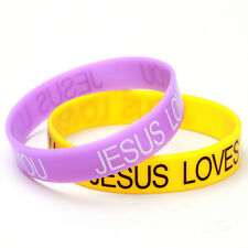 20pc Mixed Colorful Silicone JESUS LOVES YOU Printed Logo Bracelets Wristbands D