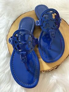 NIB-Tory-Burch-Miller-Sandals-in-Nautical-Blue-Sz-7-7-5-8-Naplak-Leather
