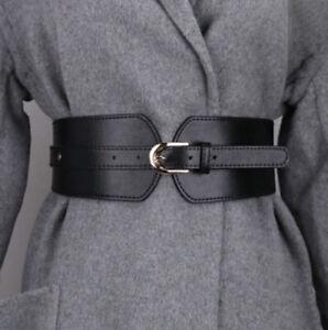Women Wide Faux Leather Elastic Stretchy Corset Belt Waist Belt
