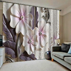 Details about Window 3D Curtains Floral Printed Blockout Curtain Drape  Bedroom Living Room