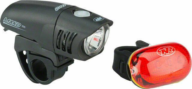 Bike Light Set Niterider Mako 200 Front /& Tl5.0 Sl Rear Black