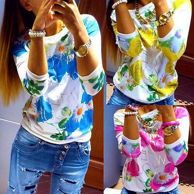 Women Floral Long Sleeve Tops Blouse T-Shirt Cardigan Outwear Jumper Pullover