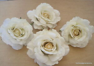 Four piece lot large 4 12 cream white rose silk flower hair clips image is loading four piece lot large 4 1 2 034 mightylinksfo