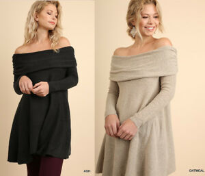 c82ad43cae46e UMGEE Soft Sweater Dress Off Shoulder or Cowl Neck Long Tunic Top Swing  Trapeze