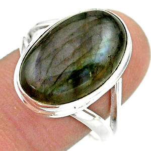 12.07cts Solitaire Natural Labradorite Spectrolite 925 Silver Ring Size 9 T41701
