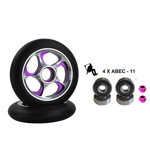 2X PRO STUNT SCOOTER PURPLE STORM METAL CORE WHEELS 110mm 88A ABEC 11 BEARING 9