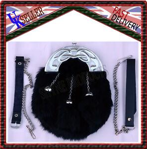 FULL DRESS SPORRAN BLACK RABBIT FUR & CHROME CELTIC CANTLE 3 BLACK TASSELS