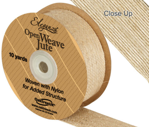 Open Weave Jute 38mm x 9.1m By Eleganza Woven With Nylon For Added Structure
