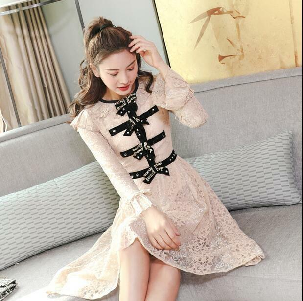 Hot sale Occident new bump color bow nail bead horn horn horn sleeve Sweet lace long dress 223905