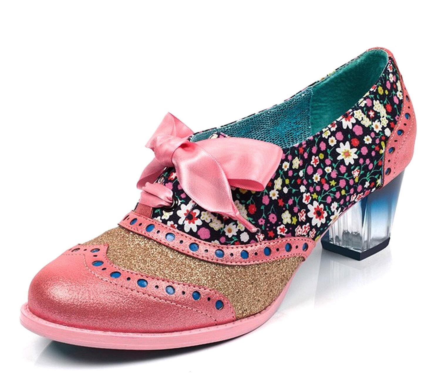 Licencia poética nuevo corporativo Belleza Belleza Belleza rosado Floral Talón Mediados Brogue Zapatos Tallas 3-9  garantizado